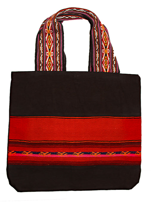 Land R, Peruvian Made, Handwoven Matte Black Tote Bags, Sunset