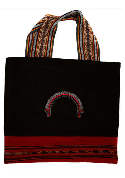 Land R, Peruvian Made, Alpaca Fibers Strap, Handwoven Tote Bags in Black, Trenzada