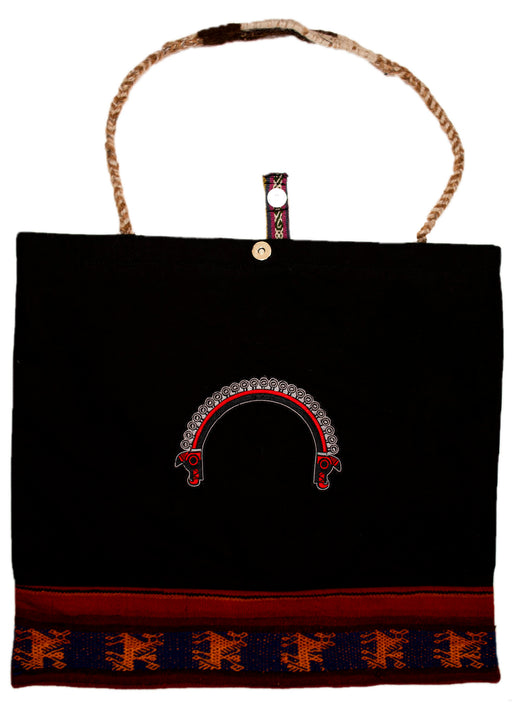 Land R, Peruvian Made, Rope Style, Handwoven Tote Bags in Black, Trenzada