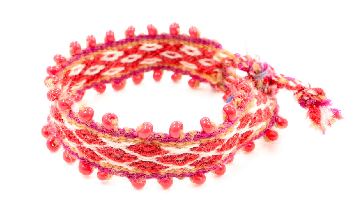 Handwoven, Alpaca Blend, Tie Bracelets, Red/Gold Hued, Ruby Red Glass Beading, Smack