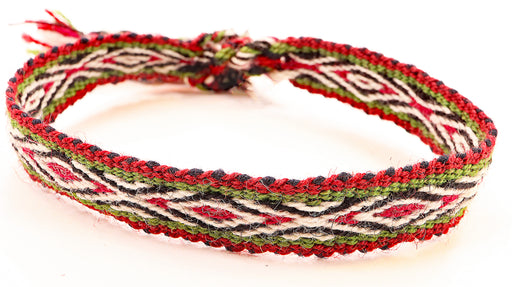 Handwoven, Alpaca Blend, Tie Bracelets, Deep Red/Khaki Hypnotic