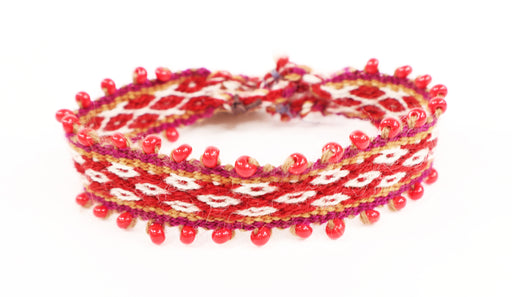 Red/Gold Hued, Ruby Red Glass Beading, Alpaca Blend, Tie Bracelets