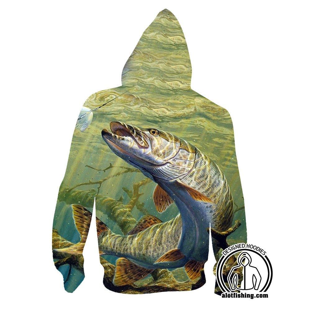 Fishing Hoodies - 3D Print Unisex Pull Over Hoodies - Muskie