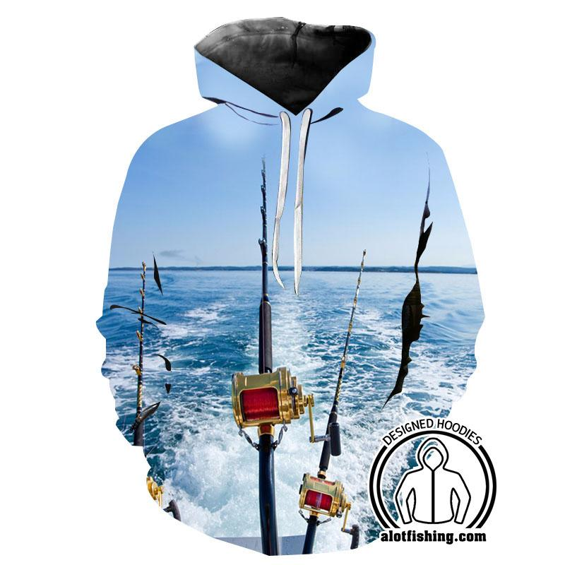 Fishing Hoodies - 3D Print Unisex Pull Over Hoodies - Deep Sea Fishing