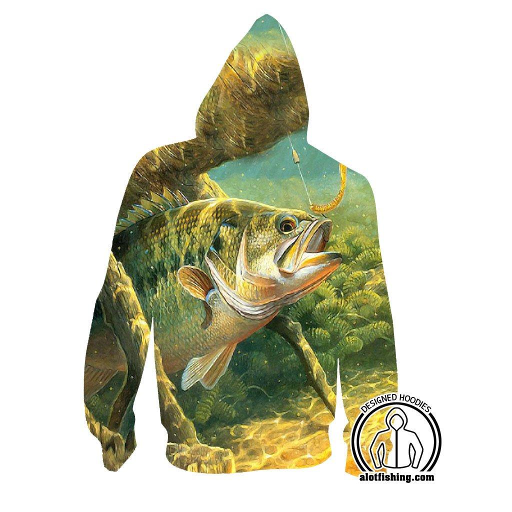 Fishing Hoodies - 3D Print Unisex Pull Over Hoodies - Underwater Bass