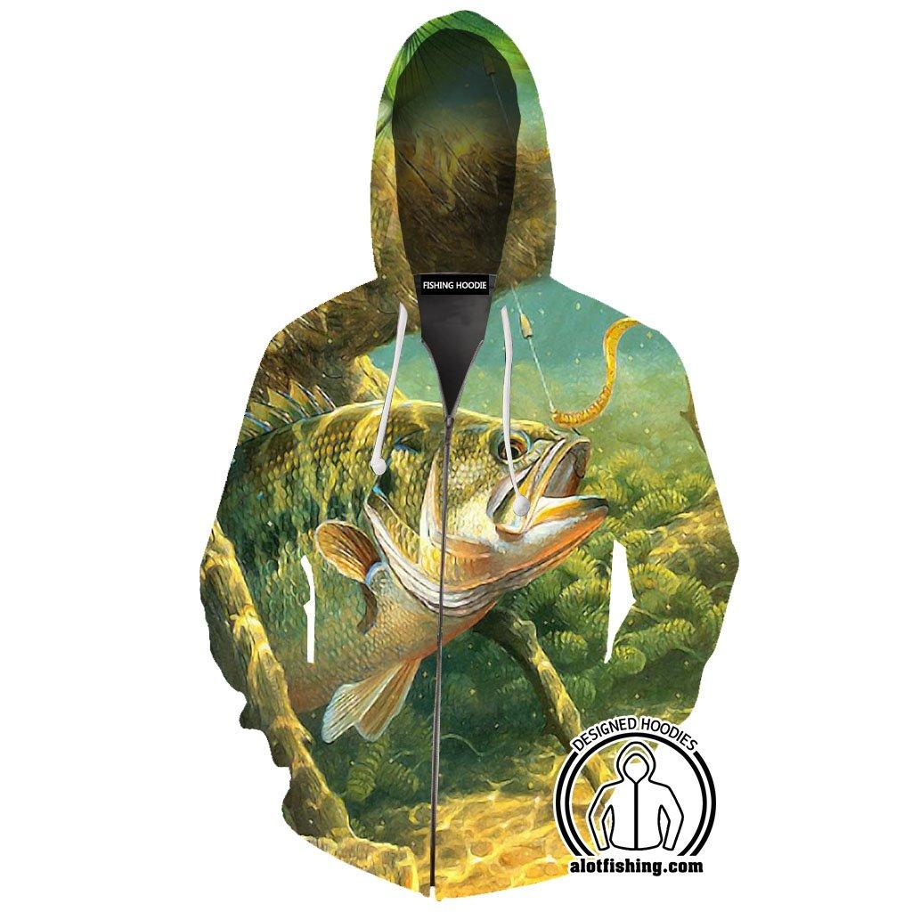 Fishing Hoodies - 3D Print Unisex Zip Up Hoodies - Underwater Bass
