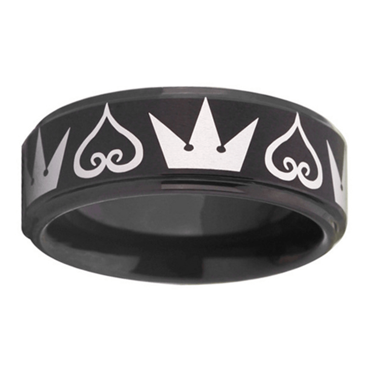 Kingdom Hearts Crown Tungsten Wedding Band - Custom Laser Engraved