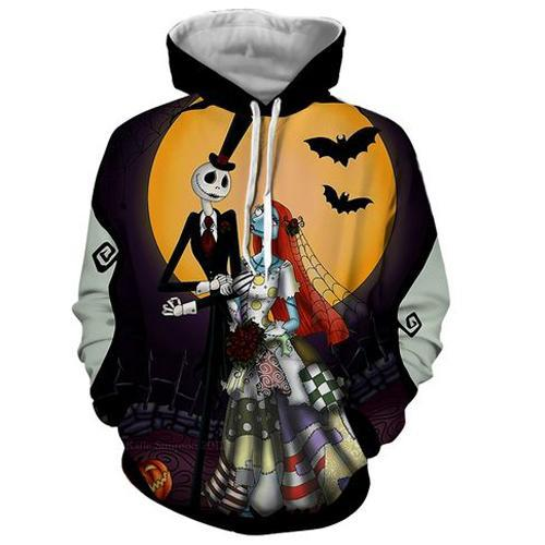 Jack Skellington Hoodies - Nightmare Before Christmas Jack&Sally's Wedding Pull Over Hoodie - Jack Skellington Cloths