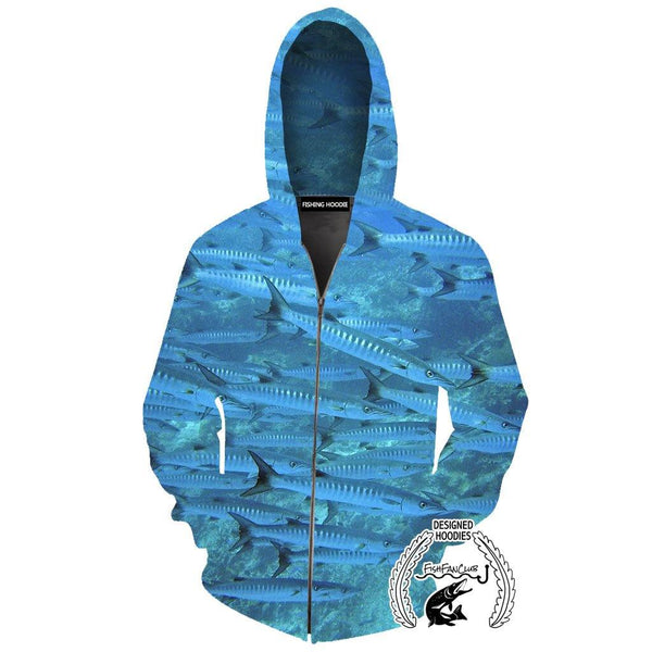 Fishing Hoodies - 3D Print Unisex Pull Over Hoodies - Barracudas