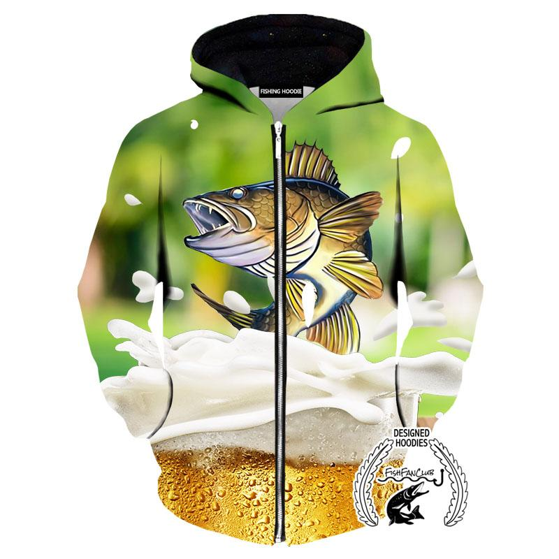 Fishing Hoodies - 3D Print Unisex Pull Over Hoodies - Walleye&Beer Green