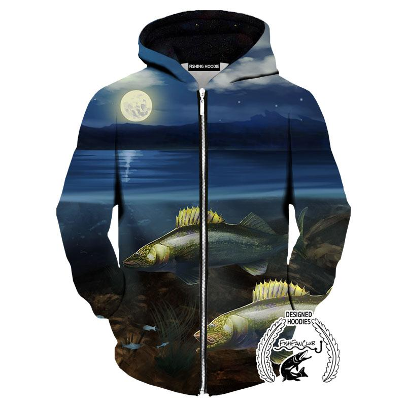 Fishing Hoodies - 3D Print Unisex Pull Over Hoodies - Full Moon Walleye