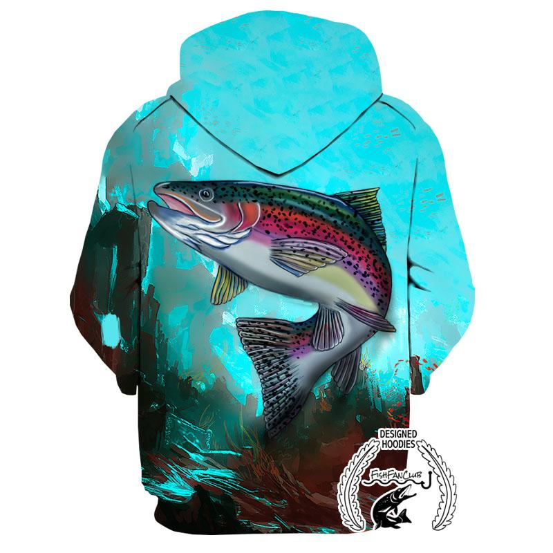 Fishing Hoodies - 3D Print Unisex Pull Over Hoodies - Colorful Rainbow Trout
