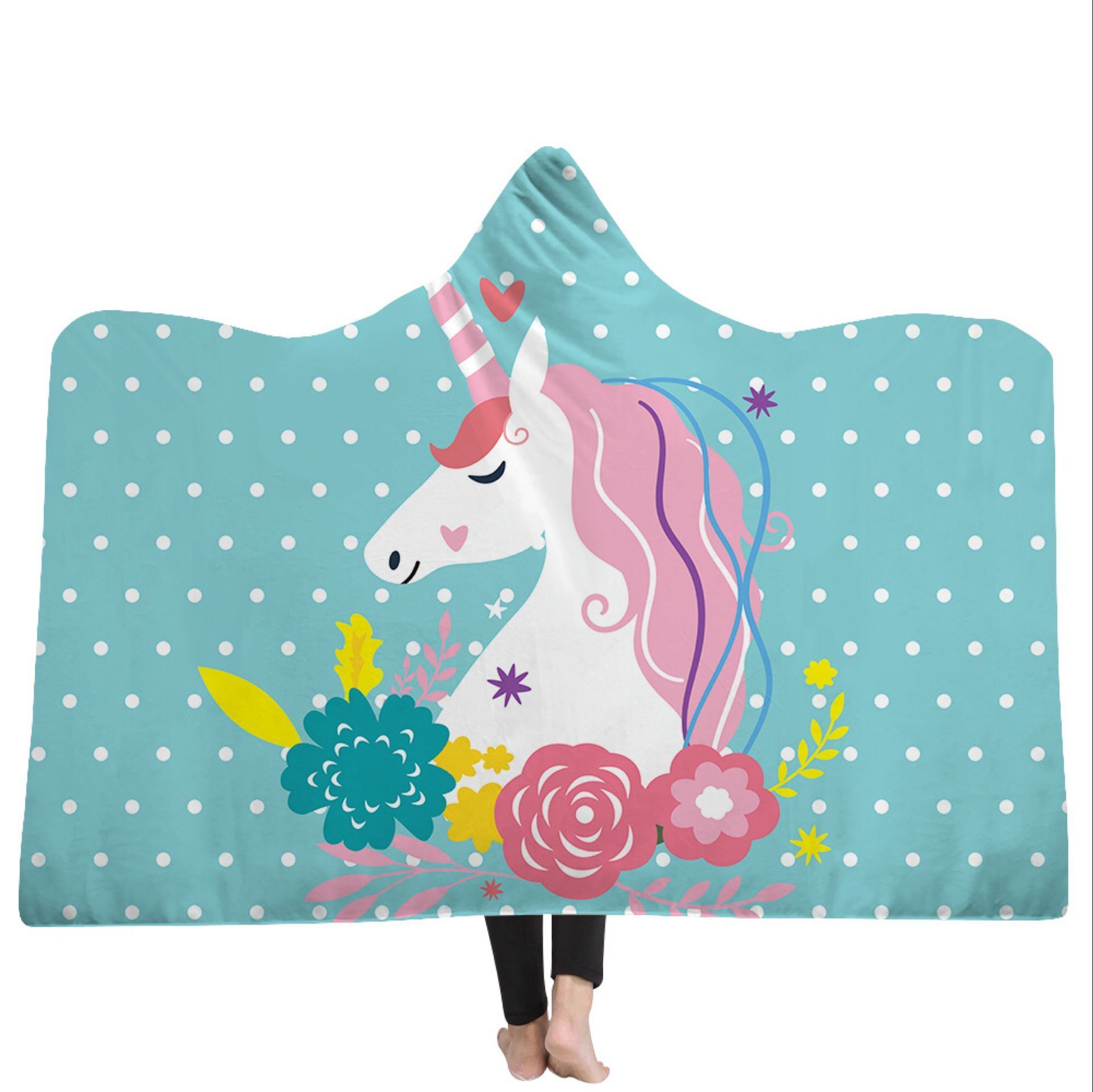 Cute Floral Unicorn Hooded Blanket