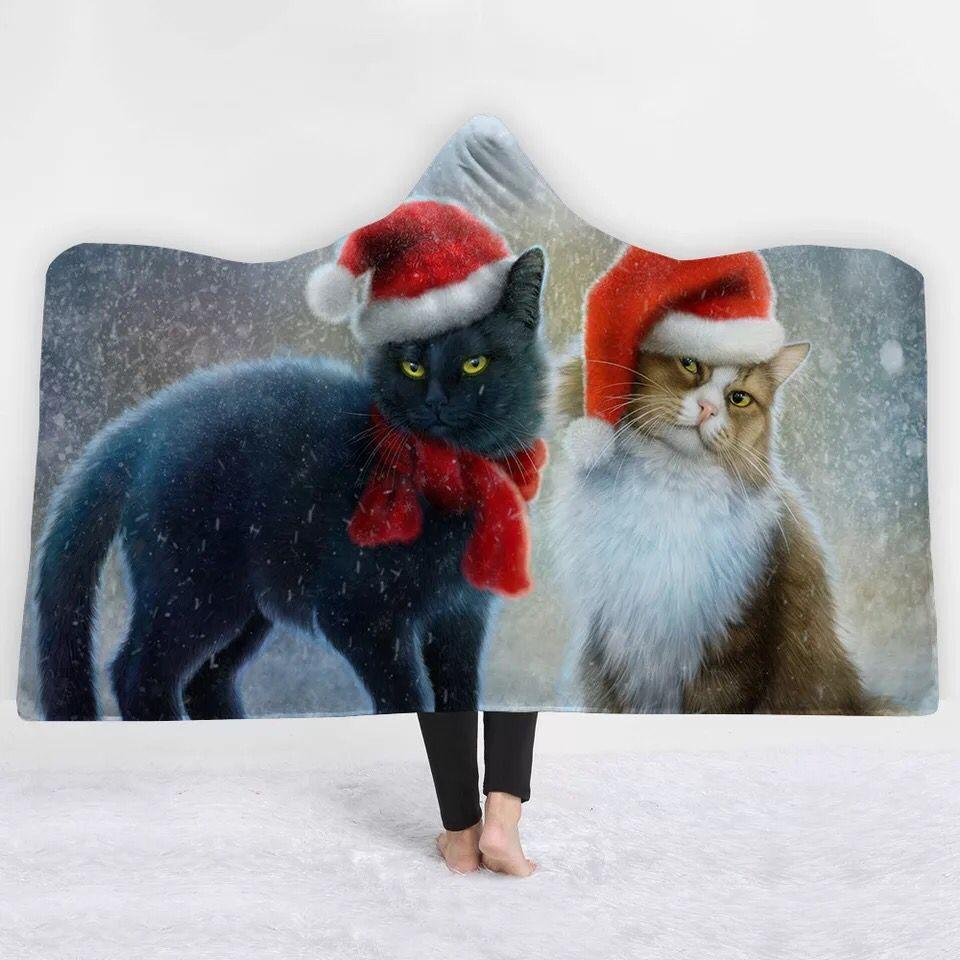 Christmas Cats Hooded Blanket