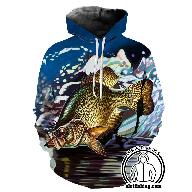 Fishing Hoodies - 3D Print Unisex Pull Over Hoodies - Crappie