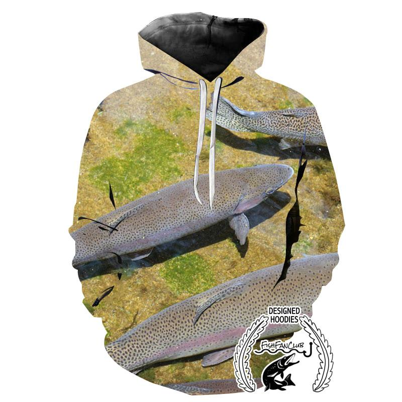 Fishing Hoodies - 3D Print Unisex Pull Over Hoodies - Rainbow Trout
