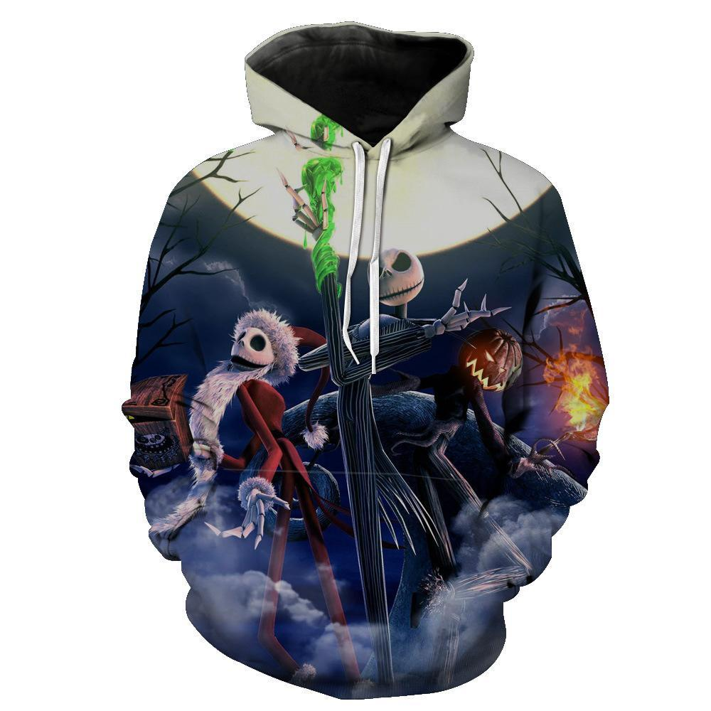 Jack Skellington Hoodies - Nightmare Before Christmas Enemies Pull Over Hoodie - Jack Skellington Cloths