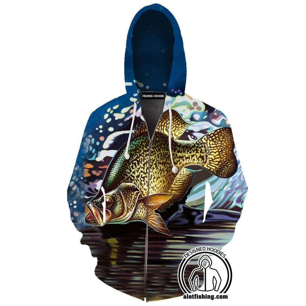 Fishing Hoodies - 3D Print Unisex Zip Up Hoodies - Crappie