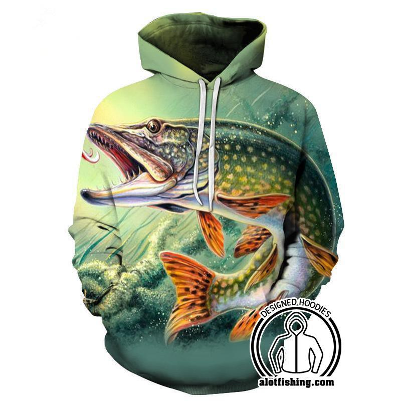 Fishing Hoodies - 3D Print Unisex Pull Over Hoodies - Pike