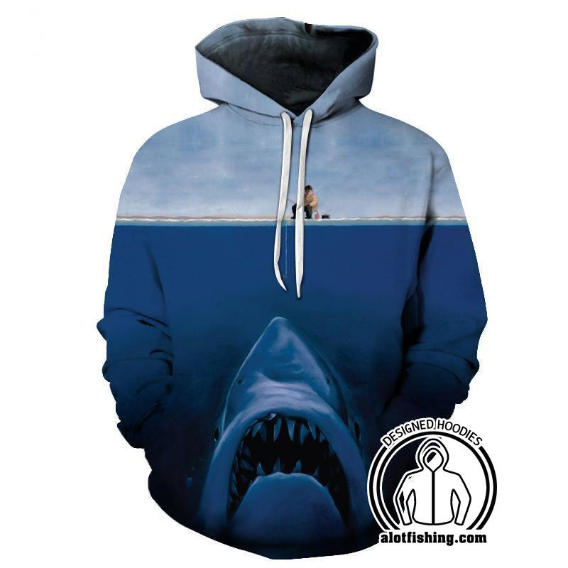 Fishing Hoodies - 3D Print Unisex Pull Over Hoodies - Giant Shark