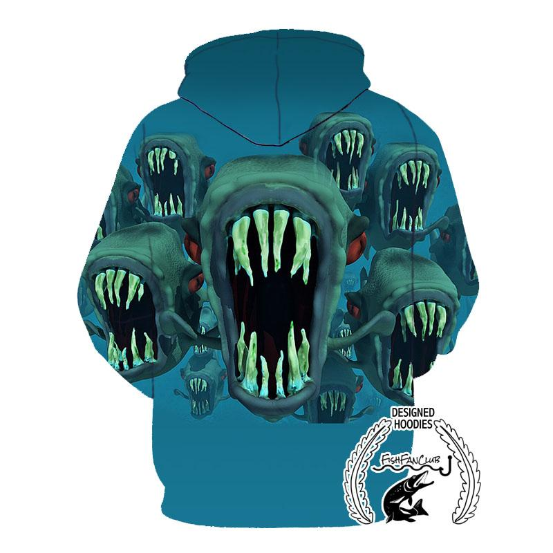 Fishing Hoodies - 3D Print Unisex Pull Over Hoodies - Piranha Fantasy fishfanclub