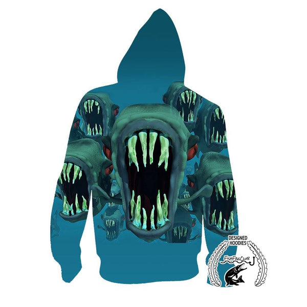 Fishing Hoodies - 3D Print Unisex Pull Over Hoodies - Piranha Fantasy