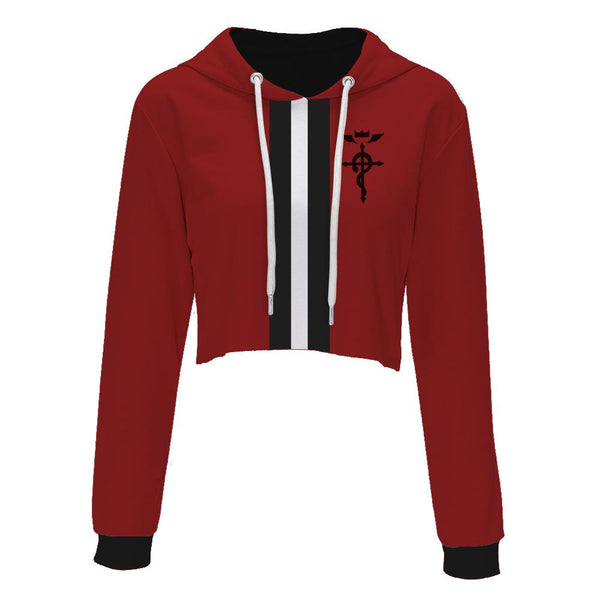 Fullmetal Alchemist Hoodies - Edward Elric Red Crop Top Hoodie