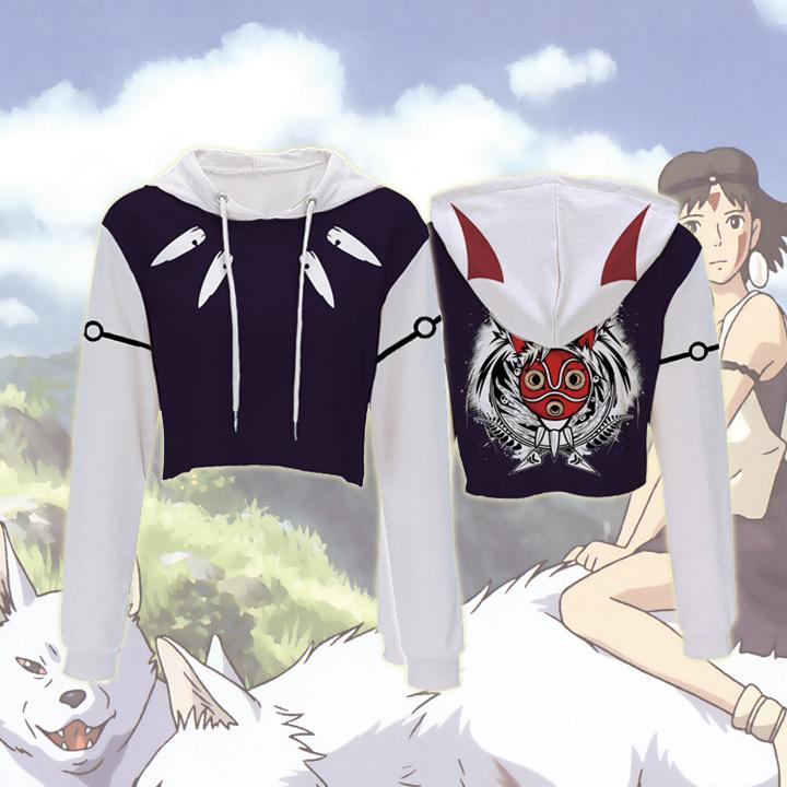 Princess Mononoke Hoodies - Princess Mononoke Crop Top Hoodie