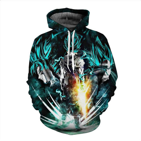 Dragon Ball Z Hoodies - Super Saiyan Goku B Pull Over Hoodie - 3D Hoodies Clothing