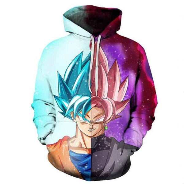 Dragon Ball Z Hoodies - Super Saiyan Half Face Pull Over Hoodie - 3D Hoodies Clothing