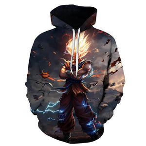 Dragon Ball Z Hoodies - Super Saiyan Goku Pull Over Hoodie - 3D Hoodies Clothing