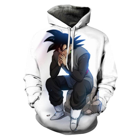 Dragon Ball Z Hoodies - Super Saiyan Goku White Pull Over Hoodie - 3D Hoodies Clothing