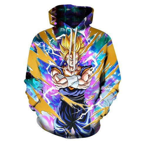 Dragon Ball Z Hoodies - Super Saiyan Blue Vegetto Pull Over Hoodie - 3D Hoodies Clothing