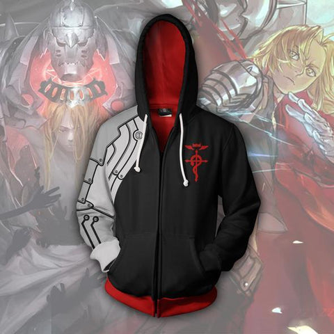 Edward Elric Hoodies - Edward Elric Black Zip Up Hoodie