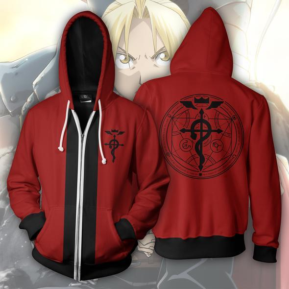 Edward Elric Hoodies - Elric Edward Red Zip Up Hoodie