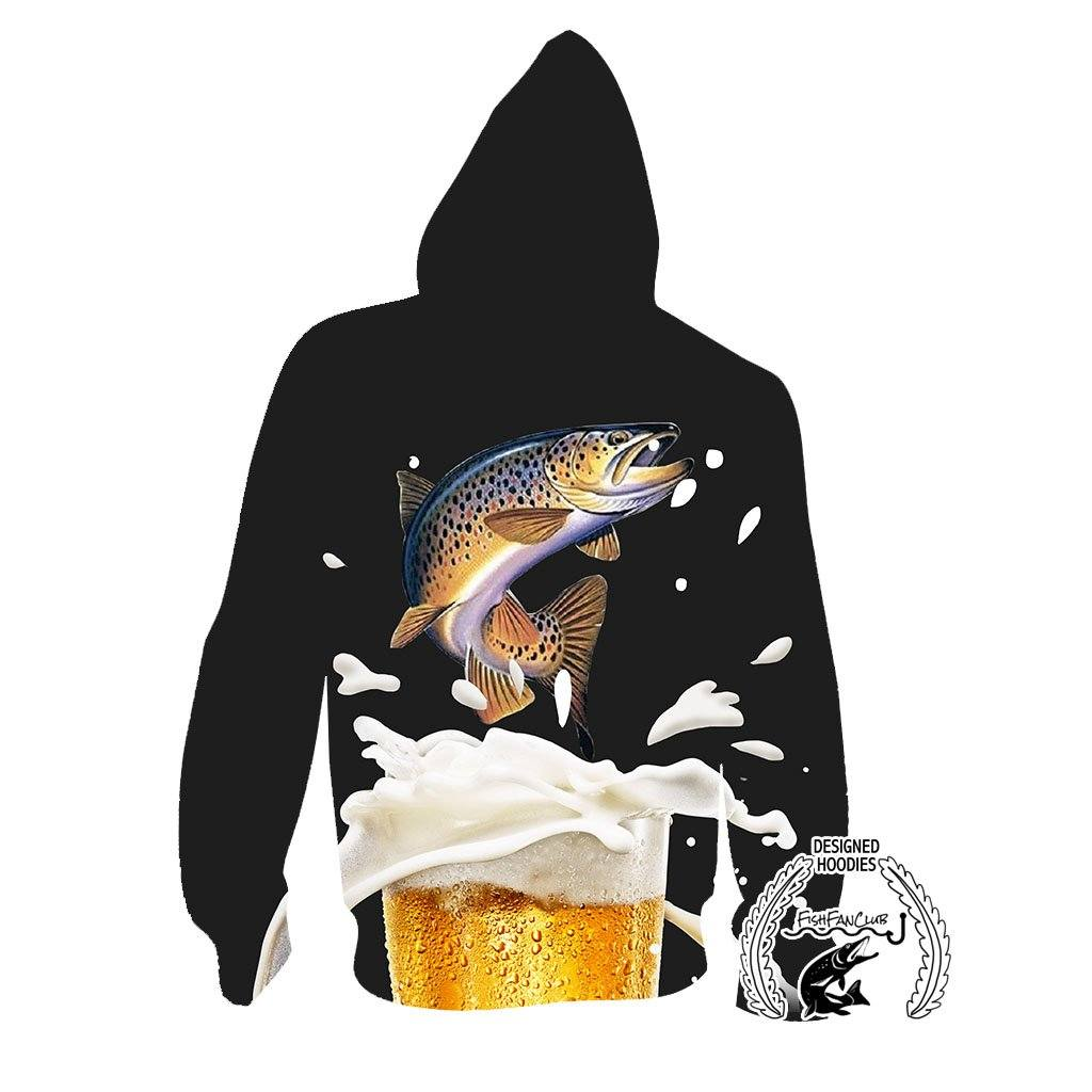 Fishing Hoodies - 3D Print Unisex Hoodie - Brown Trout&Beer A