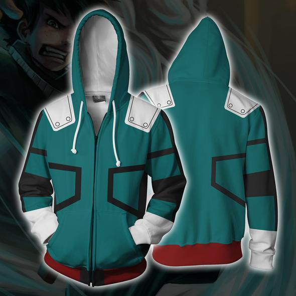 My Hero Academia Hoodies - Izuku Midoriya Boku No Hero Academia Zip Up Hoodie