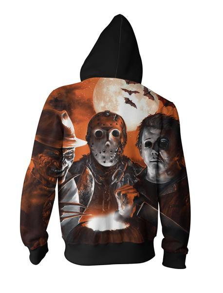 Jason Voorhees Hoodies - Jason Voorhees, Freddy Krueger And Michael Myers Zip Up Hoodie