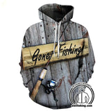 Fishing Hoodies - 3D Print Unisex Pull Over Hoodies - Gone Fishing