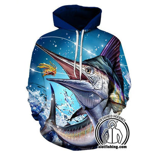 Fishing Hoodies - 3D Print Unisex Pull Over Hoodies - Striped Marlin