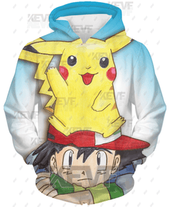 Pokemon Hoodie - Pikachu and Ash Pull Over Hoodie