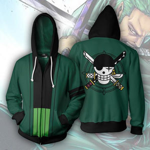 One Piece Hoodies - Roronoa Zoro Zip Up Hoodie