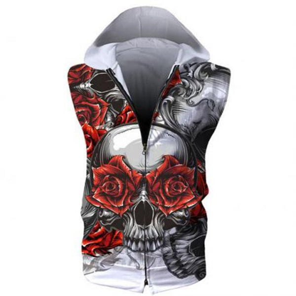 3D Hoodies - 3D Flower Skull Sleeveless Zip Up Hoodie