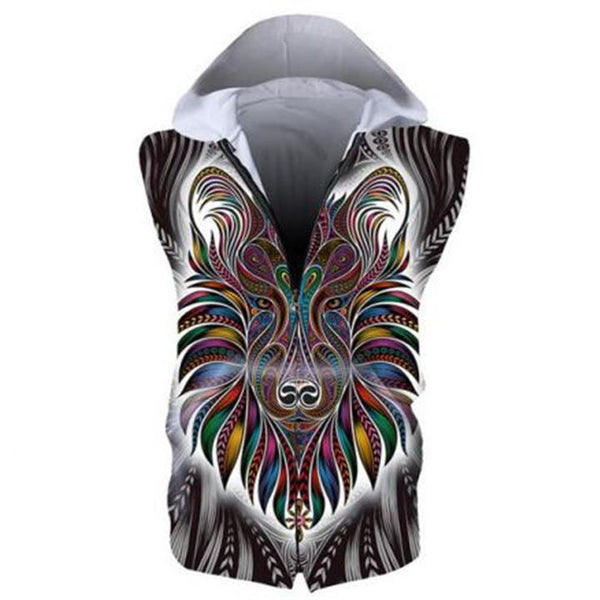 3D Hoodies - 3D Geometric Lion Sleeveless Zip Up Hoodie