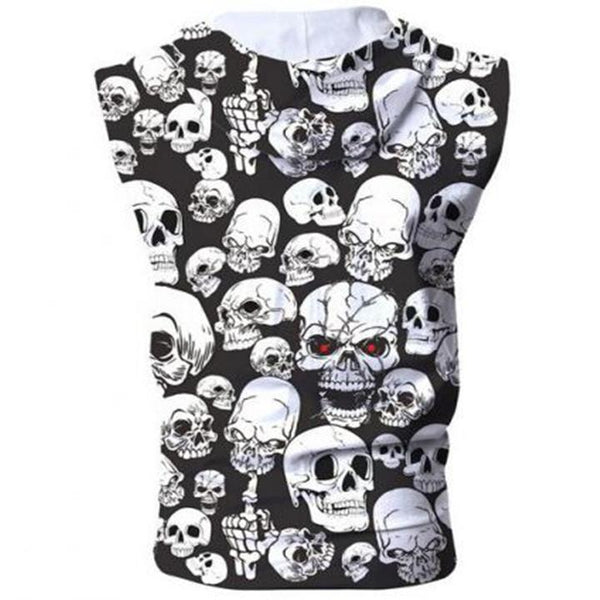3D Hoodies - 3D Skulls Sleeveless Zip Up Hoodie