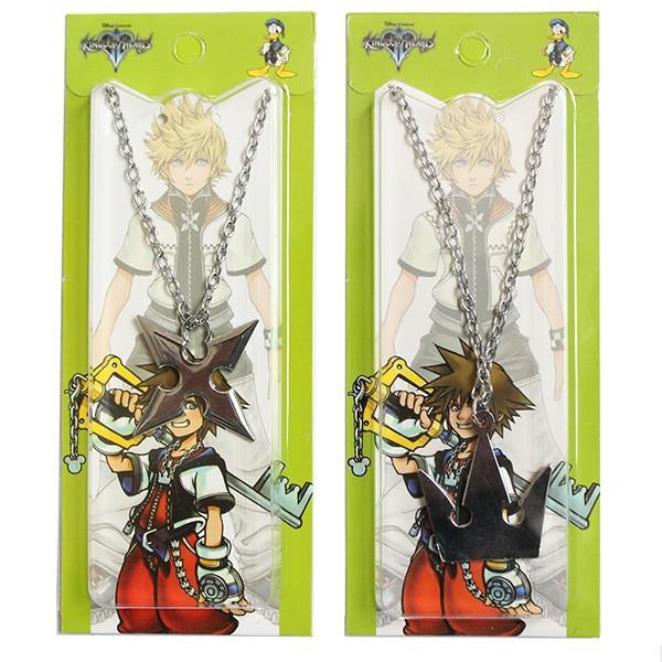 Set of 2pcs Kingdom Hearts Sora's Crown Roxas's Cross Necklace Keyblade Metal chain