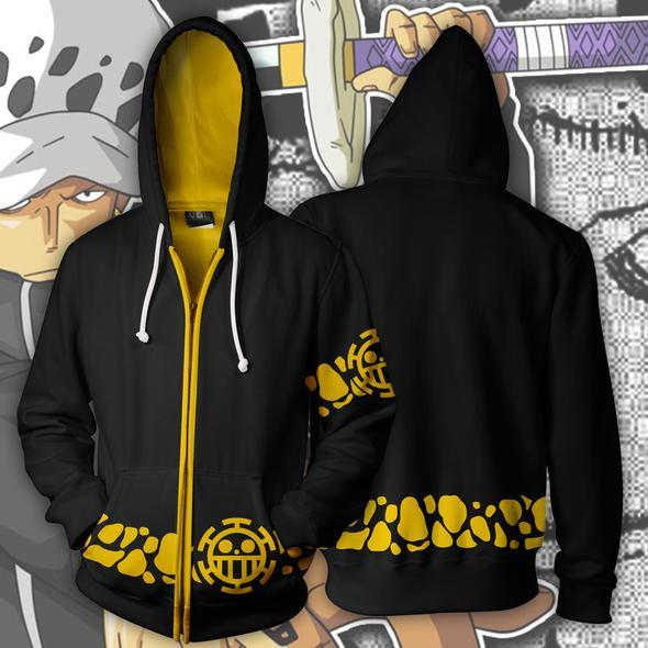 One Piece Hoodies - Trafalgar Law Coat Cosplay Zip Up Hoodie