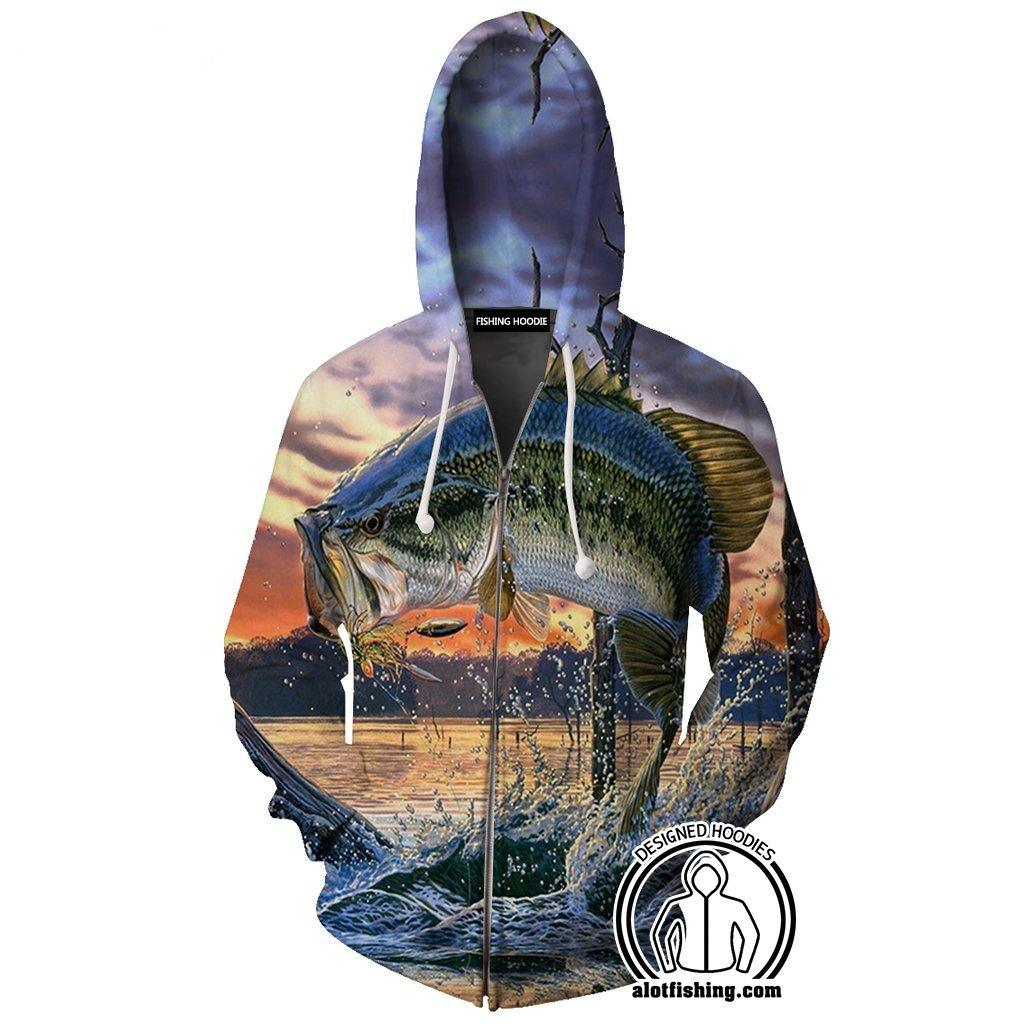 Fishing Hoodies - 3D Print Unisex Zip Up Hoodies - Largemouth Bass