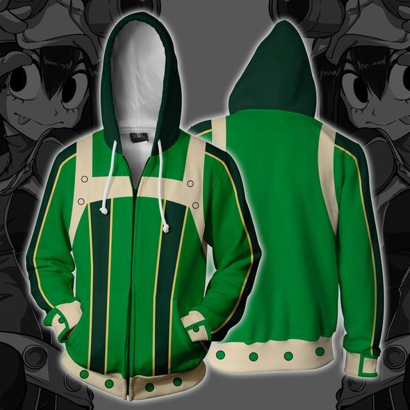 my hero academia hoodies boku no hero academia tsuyu asui zip up hoodie