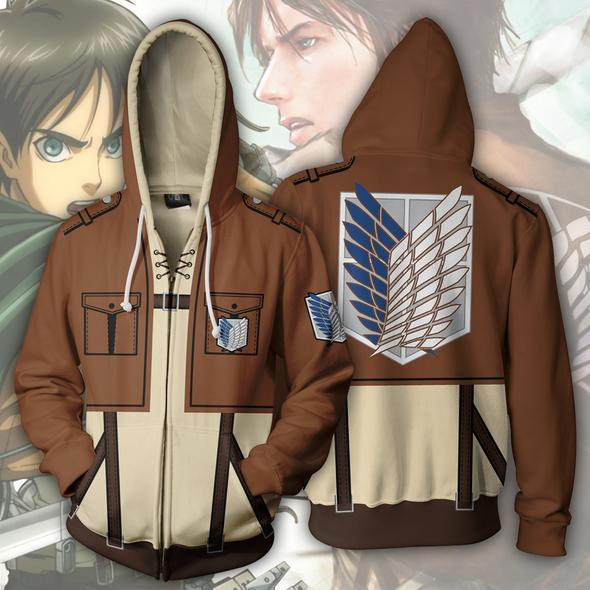 Attack on Titan Hoodies - Eren Yeager Zip Up Hoodie